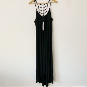 Nicole Miller Black Maxi Dress High Low